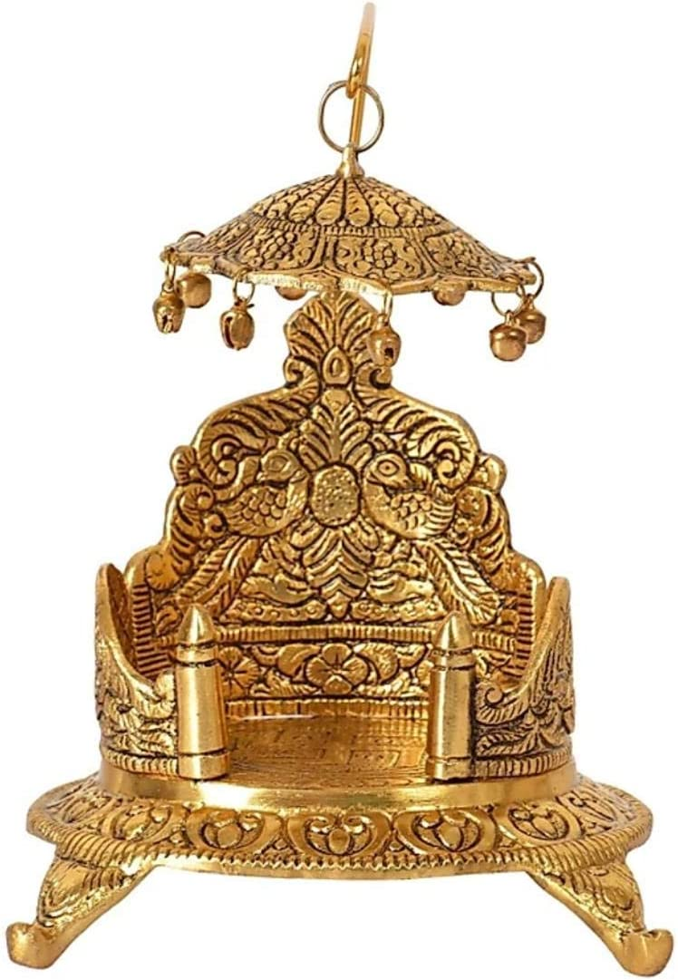 Dharma pranjals House Metal Singhasan Oval Shaped for Ganesha Krishna God Idols - Gold Plated Ladoo Gopal Pooja Chowki for Temple Mandir Puja Idol Decoration Items
