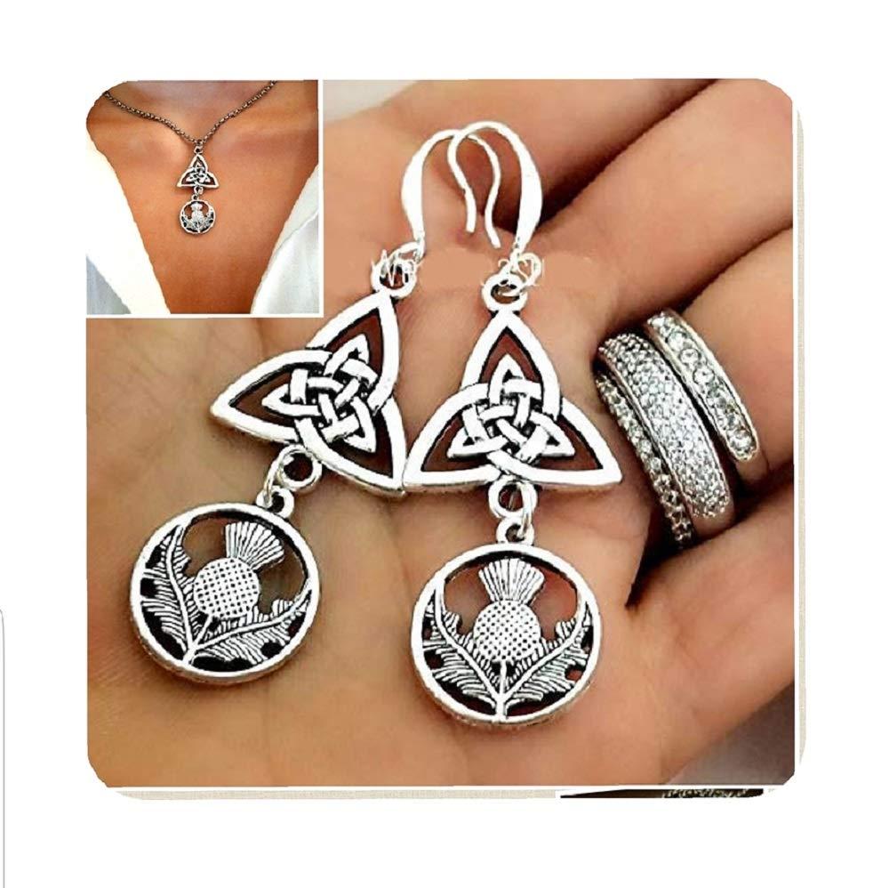 Irish Celtic Knot Boston Mall Scottish Max 71% OFF Thistle Flower Charm Nec Earrings and