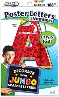 ArtSkills Jumbo Poster Letters and Numbers, A-Z and 0-9, Assorted, Holographic Colors, 108-Count (PA-1462)