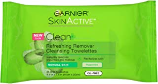 Garnier SkinActive Clean + Refreshing Remover Cleansing Towelettes 25 ea (Pack of 3)