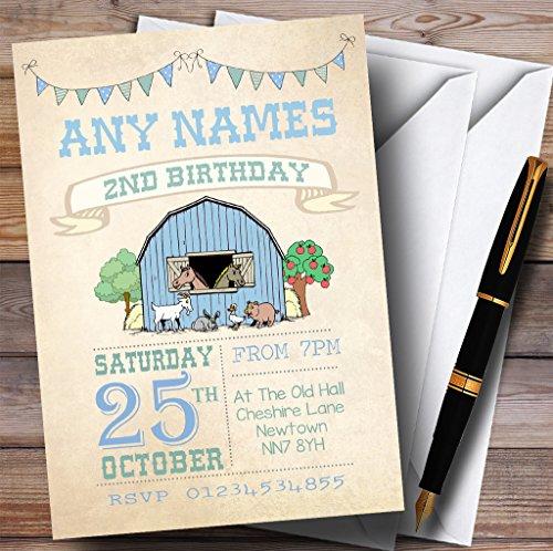 Boysファーム動物Childrens誕生日パーティー招待状 10 Invitations