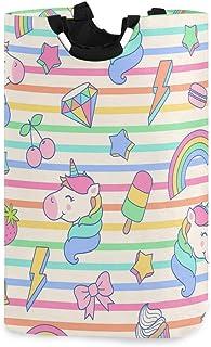 Mignon Licorne Dessert Popsicles Panier À Linge Panier À Linge Sac De Vêtements Sale Arc-En-Étoile Glace Seau Pliable Poub...