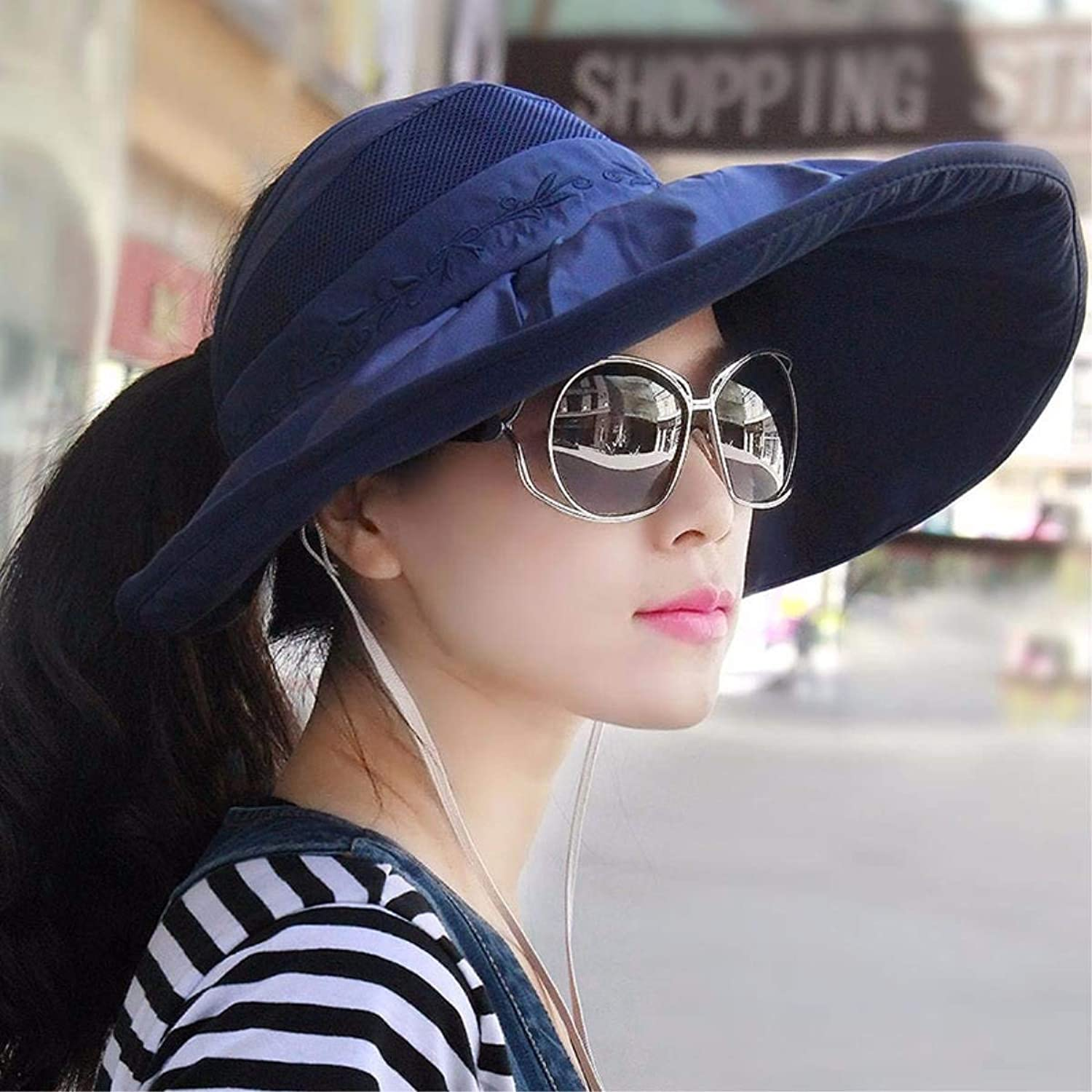 GHANDG Beach Hat Hat Female Summer hat Sun hat Sun hat alMa Mei hat Beach hat hat Empty top hat Foldable Female Cap Cycling Summer Sun Hat