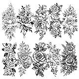 LAROI 10 Blätter Große realistische Rose Pfingstrose Blume Temporäre Tattoos Erwachsene Frauen Wasserdicht Schwarz Tattoo Aufkleber 3D Blüte Damen Schulter