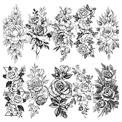 LAROI 10 Feuilles Grand Réaliste Rose Pivoine Fleur Tatouage éphémère Adultes Femme Imperméable Noir Autocollant Tatouage 3d Fleur Dame Épaule Tatouages Temporaire Feuille Bricolage Sexy Bras Tattoo