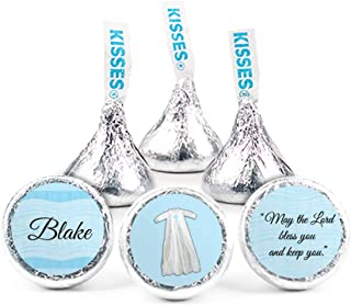 Personalized Boy Baptism Stickers for Hershey's Kisses Candy (108 Count)