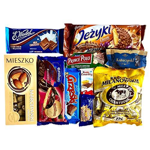 Sweet Oasis Polish Chocolate Gift Box Sweets Candy Snack Assortment Box Wedel Mieszko Marcepan Krowki Milanowskie Prince Polo (01, S)