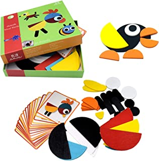 BrilliantMagic Wooden Pattern Blocks Animals Jigsaw Puzzle Sorting and Stacking Games Montessori Educational Toys for Todd...