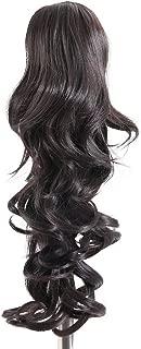 Prettyland - DH254 pelo largo Extensión de cabello, Peluca Cola de Caballo ondulada con clips - 4 negro Marrón