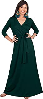 Womens Long Sleeve Casual Cocktail Flowy V-Neck Gown Maxi Dress