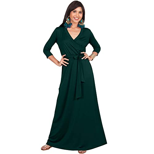 31f2a73ff02 KOH KOH Womens Long Sleeve Casual Cocktail Flowy V-Neck Gown Maxi Dress
