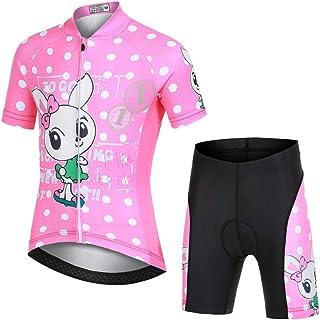 Kinder Radtrikot Set Junge Mädchen Fahrradshirt und Shorts Radhose Kurz Unisex