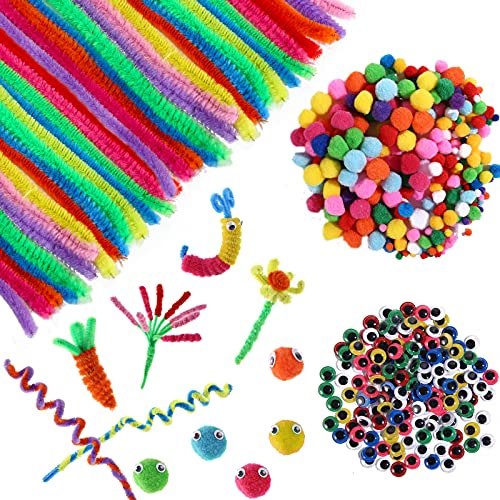 WELLVO 1000 Pcs Craft Supplies Materials, Including 250 Pcs Balls 300 Pcs Pipe Cleaners Craft Supplies 450 Pcs Colorful Safety Eyes Self Adhesive for KidsDIY Creative Crafts Decorations