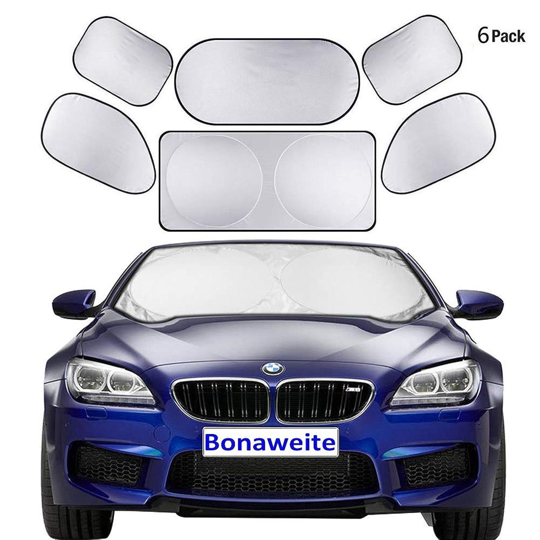 Bonaweite 6 Pieces Car Windshield Sunshade, Foldable Side Rear Window Shades by UV Rays Sun Visor Protector, Keeps Vehicle Cooler