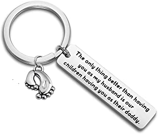 CHOROY Daddy to Be Keychain New Dad Gift Expectant Father Gift Pregnancy Announcement Gift for Husband
