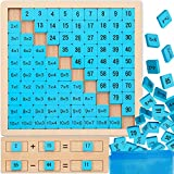 Zonon Wooden Hundred Board Wooden Multiplication Board Montessori Math Game, 1 to 100 Consecutive Numbers Chart Preschool Learning Toys Educational Game for Student with Storage Bag