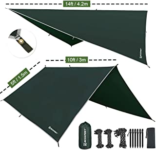 Bessport Tent Tarp Hammock Rain Fly Waterproof PU 3000mm-UV Protection, Lightweight Ripstop Fabric Camping Gear Essential Shelter Canopy- Fast Set Up (10 x 10ft Square Shape)