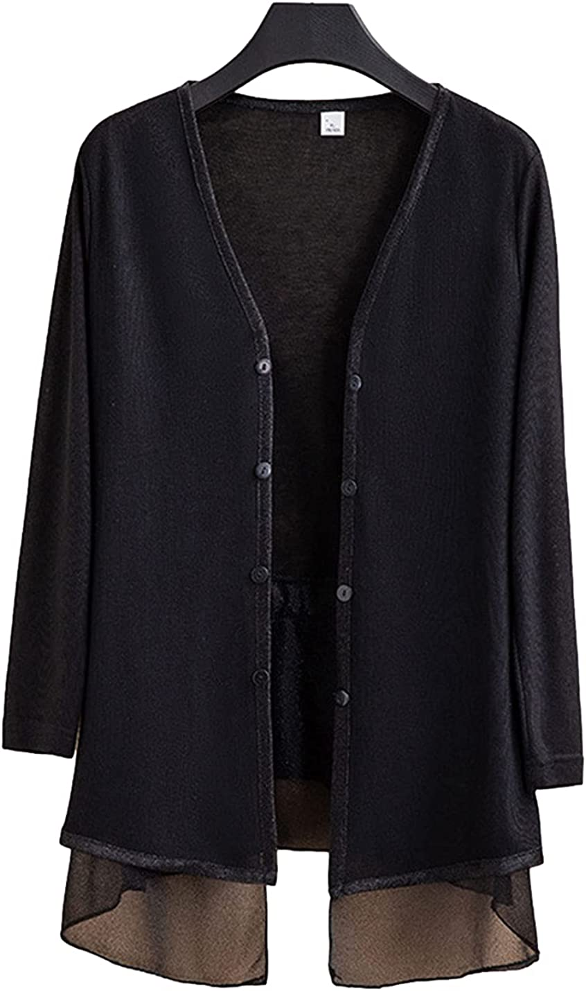 FindThy Women's 3/4 Sleeve Fake Double-Layer Cardigan Sheer Shrug Sweater Knitwear with Drawstring