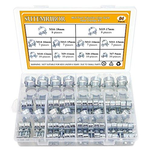 Sutemribor 10 Sizes Mini Fuel Injection Line Style Hose Clamps Assortment Kit (84 PCS)