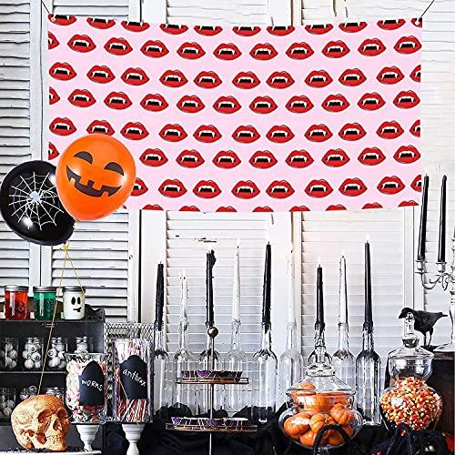 Vampiro labios dientes labios labios Halloween aterrador espeluznante rosa y rojo feliz Halloween Banner para pared valla patio fondo decoración interior exterior fiesta