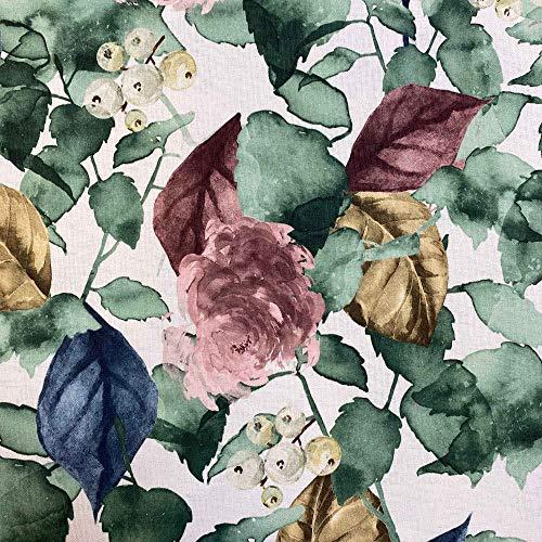 Kt KILOtela Tela por Metros de loneta Estampada Digital - Half Panamá 100% algodón - Ancho 280 cm - Largo a elección de 50 en 50 cm   Hojas y Flores - Granate, Azul, marrón