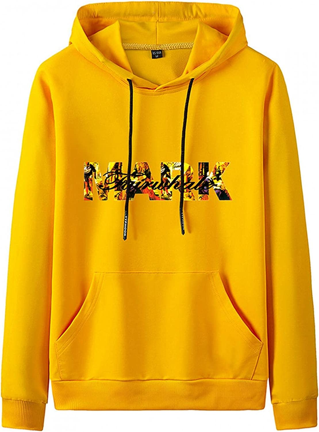 Huangse Men's Mark Hoodie Casual Letter Print Loose Fit Pullover Shirt for Men and Women Hip Hop Trend Sweatshirt