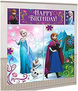 Amscan Disney Frozen Birthday Party Scene Setters Wall Decorating Kit (10 Pack), Multi Color, 59