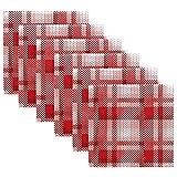 Servilletas de Tela Servilletas de Cena de Cuadros Rojos navideños Juego de 6, Servilletas de Mesa Reutilizables para cócteles, Vacaciones, Bodas, hogar, decoración