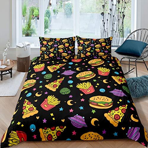 Tbrand Kinder Bettbezug Set 135x200cm Süße Karikatur Galaxis Stars Bettwäsche Set Für Jungen Mädchen Hamburger Pizza Chip Theme Betten Set Weltraum Dekor Reißverschluss