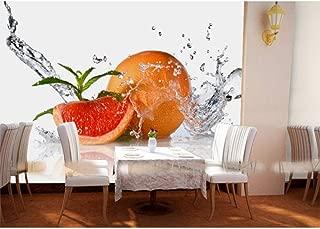 Murales de papel 3d Gota de agua fruta naranja papel tapiz 3d Murales para sala de cocina Mural fotográfico 3d comedor Murales de pared 3d