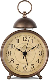 EMIROOM 5.5 Inch Retro Single Bell Loud Alarm Clock, Silent Non Ticking Battery Operated, Classic Small Table Alarm Clock ...