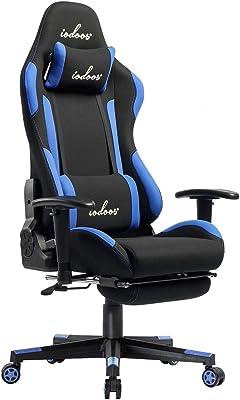 IODOOS ゲーミングチェア オットマン付き gaming chair パソコンチェア 無段階約180度リクライニング ランバーサポート付き 肘掛付き 通気性抜群 布地(ブルー)01BBA