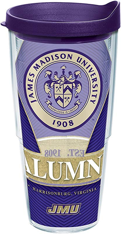 Tervis 1295669 James Madison Dukes Alumni Insulated Tumbler With Wrap And Royal Purple Lid 24 Oz Tritan Clear