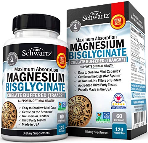 Magnesium Bisglycinate 100% Chelate No-Laxative Effect. Maximum Absorption & Bioavailability, Fully Reacted & Buffered. Sleep, Energy, Stress & Anxiety, Leg Cramps, Headaches. Non-GMO Project Verified