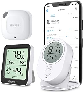 Bundle-3 Items: Govee Temperature Humidity Monitor 3 Pack, Bluetooth Temperature Monitor, Thermometer Hygrometer Gauge with Alert, Free Data Export Temp Humidity Sensor