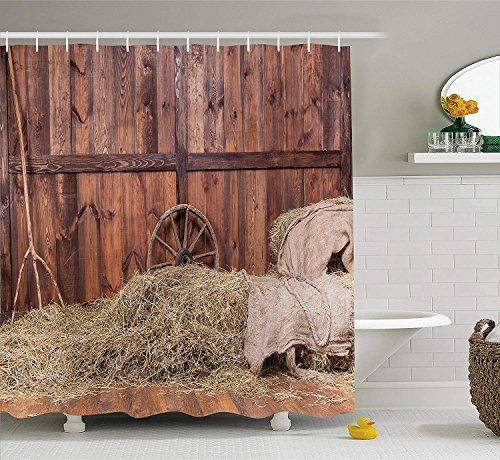 YEDL Scheune Holz Wagen Rad Duschvorhang, ländliches altes Pferd Stall Scheune Interieur Heu Holzplanken Bild Druck 180 × 180Cm