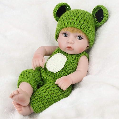 NPKDOLL Reborn Baby-Puppe, lebensechte Nachbildung für Jungen, 28 cm, B162 Ganz , Weißes Silikon, offene Augen implantierte Haare kann im Wasser Baden Baby sch s Geschenk