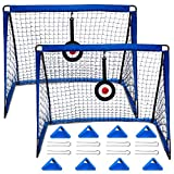 E-SDS Portable Kids Soccer Goals for Backyard, Set of 2 Pop Up Soccer Net with Aim Target, Agility Training Cones, and Carrying Case – 4'x3' Foldable Football Goal Nets