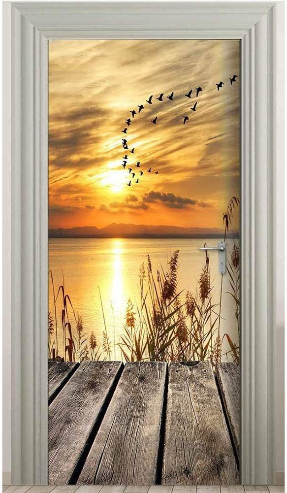MLDFS Adhesivo para puerta autoadhesivo 3D con puesta de sol y amanecer, paisaje, papel pintado de PVC, resistente al agua, imágenes de pared extraíbles para dormitorio o salón (95 x 215 cm)