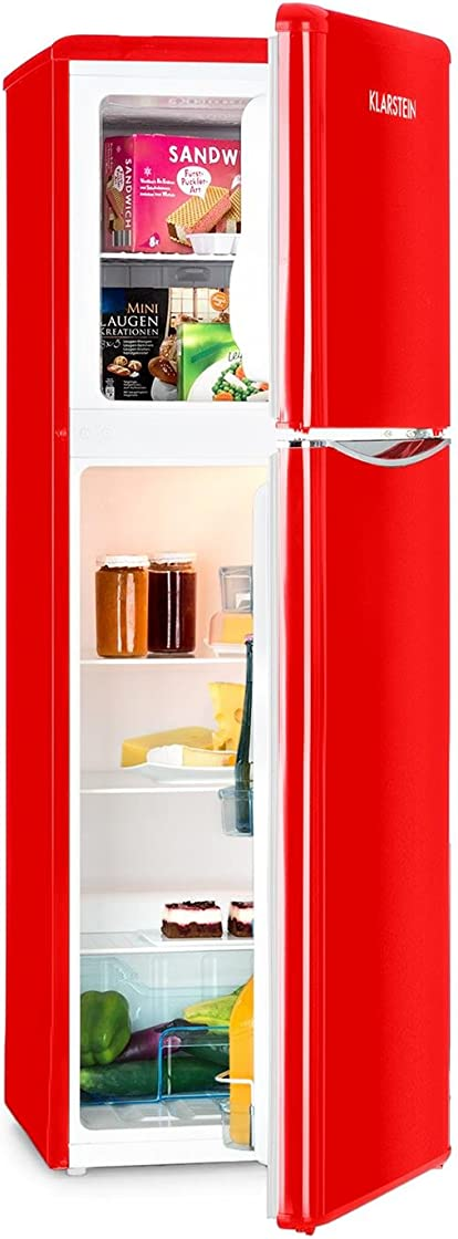 Frigorifero klarstein monroe xl red - v-2 combinazione frigo-congelatore 70 w look retrò freezer: 39 l B07P577CXX
