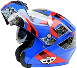 ETH Electric Motorcycle Bluetooth Helmet Motocross Helmet Double Lens Bluetooth Uncovering Helmet Motorcycle Bluetooth Helmet 3000 MAh - Blue - Red - Large durable (Size : L)