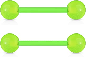BodyJ4You Nipple Bars Tongue Barbell 2-6PCS Glow in Dark 14G Bioflex or Stainless Steel Piercing Rings