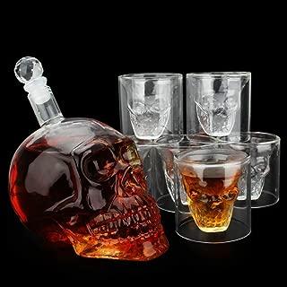 NEWQZ 強い飲み物 デカンター スカル型 デカンタ(700ml)ウイスキー グラス(75ml)