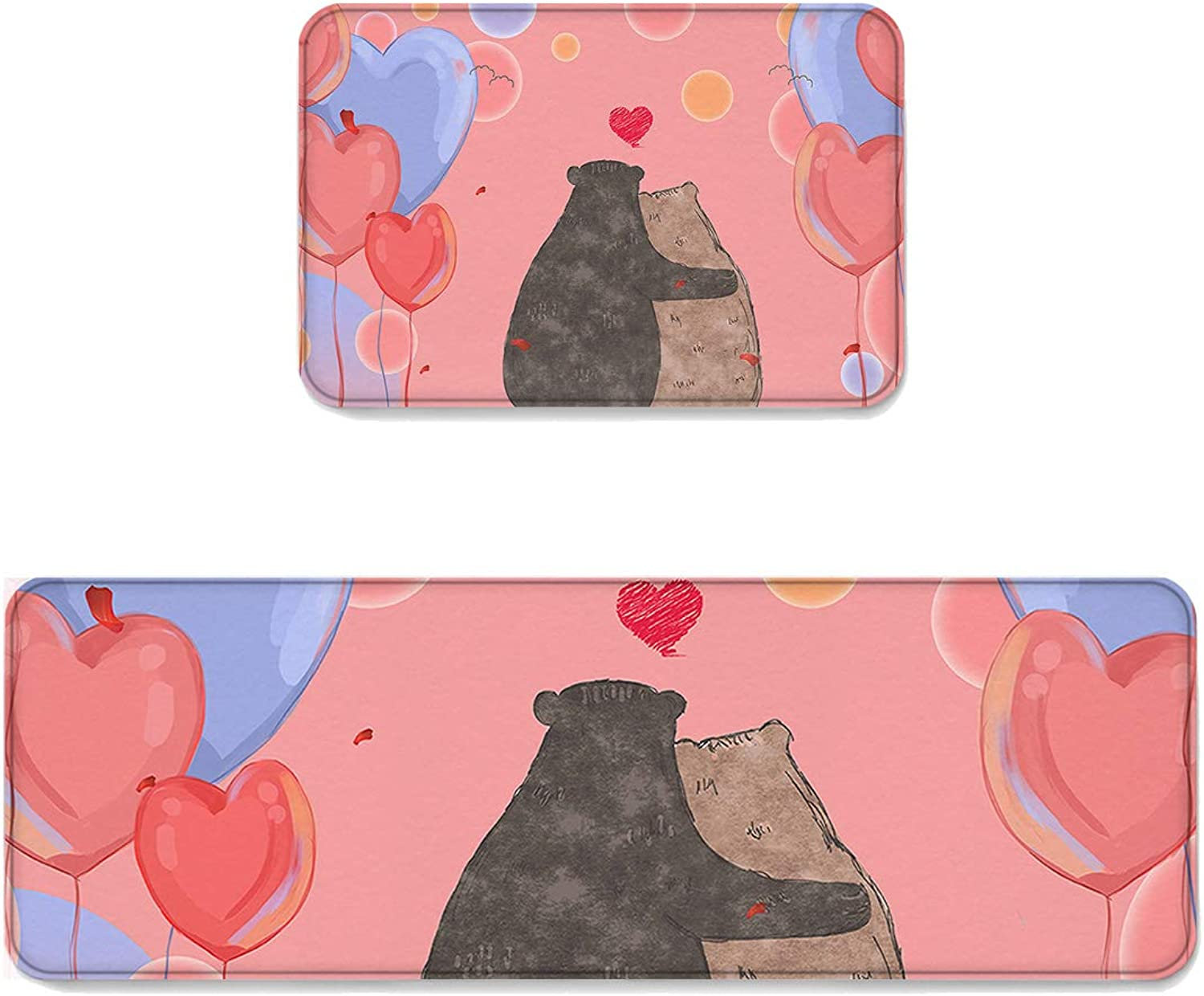 Kitchen Rug Sets 2 Piece Floor Mats Non-Slip Rubber Backing Area Rugs Romantic Couple Bear Pink Series Balloons Doormat Washable Carpet Inside Door Mat Pad Sets (19.7  x 31.5 +19.7  x 47.2 )
