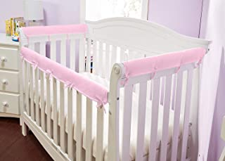 Everyday Kids Padded Baby Crib Rail Cover Set- Crib Rail Teething Guard - 3-Piece Front and Side Padded Rail Cover- with Sewn Ties for Secure Fit - Pink Soft Microfiber Polyester …