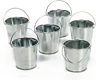 Hosley Set of 6 Mini Galvanized Planters Favor Buckets 2.25 Inch High. Ideal for DIY Craft and Floral Projects African Vio...