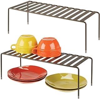 mDesign Juego de 2 estantes de cocina – Soportes para platos independientes de metal – Organizadores de armarios extragran...