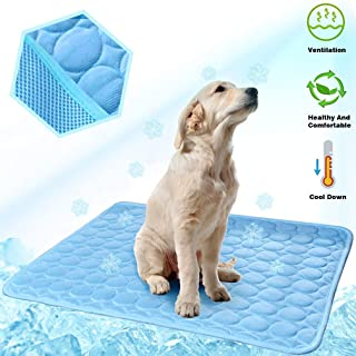 MeiLiMiYu Dog Cooling Mat, Pet Self Cooling Pad Dog Cooling Blanket Washable Ice Silk Mat for Kennels, Crates, Beds, Travel, Couch, Car Seat