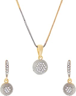 Zeneme American Diamond Gold Plated Jewellery necklace for girls fashion party wear Pendant Set / Necklace Set with Earrin...