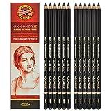 Koh-i-noor Gioconda Negro Aquarelle - 12 Water Soluble Graphite Pencils 6B. 8800 by Koh-I-Noor